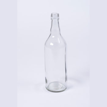 Spirituosenflasche 1000 ml aus Weissglas inkl. silberfarbigen Schraubverschluss mit Gewinde 31.5mm