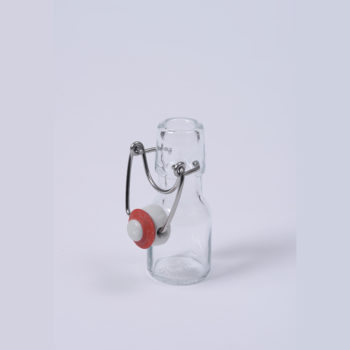 Bügelflasche 50 ml Weissglas, inklusive Standardb¸gel in Edelstahl