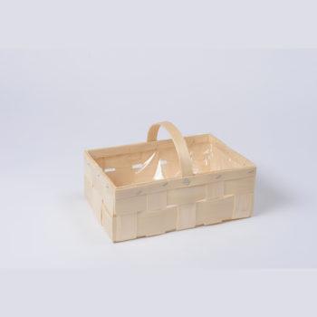 Holzkorb mit Henkel naturfarbig mit Plastikfütterung, rechteckig