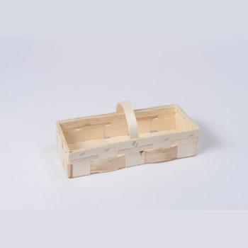 Holzkorb mit Henkel naturfarbig, rechteckig 8.1076